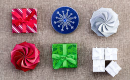 A selection of different Christmas gift boxes Royalty Free Stock Photo