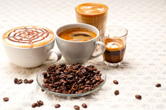 Selection of different coffee type Royalty Free Stock Photos