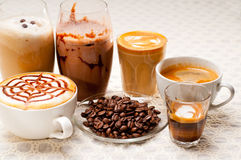 Selection of different coffee type Stock Photography