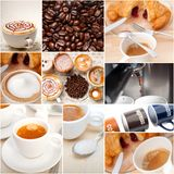 Selection of different coffee type on collage composition Royalty Free Stock Images