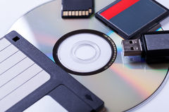Selection of different computer storage devices Stock Images