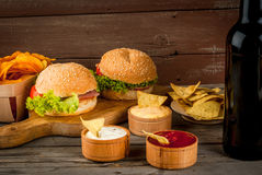 Selection of different food for a party stock photo