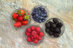 Selection of different fresh berries in glass jars Stock Photos