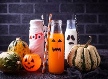 Selection of different Halloweens drinks for party. Selective focus Stock Images