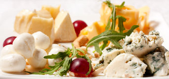 Selection of different types of cheese. Tasty and fresh cheese Royalty Free Stock Image