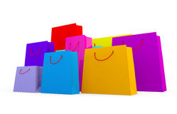 Selection of different types of shopping bags. 3d render of wide variety of coloured bags on a white background Royalty Free Stock Photography