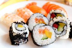 Selection of different types of sushi Stock Photos