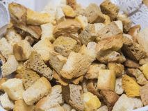 Selction of bread crouton food at a restaurant buffet Royalty Free Stock Photos