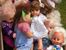 Selection of dolls in a flea market Royalty Free Stock Photography