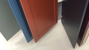 Selection of door panels in the store