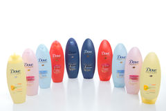 Selection of Dove Shampoos and Conditioners Stock Photo