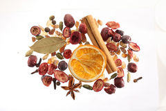Selection of dried fruit and spices Royalty Free Stock Images