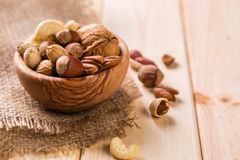 Selection of dried fruits and nuts as symbols Tu Bishvat Stock Images