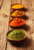 Selection of dried ground spices. In small rustic bowls in a receding line with focus to the bowl of green amchoor or matcha powder in the foreground, chili Royalty Free Stock Image