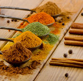 Selection of dried spices and cinnamon sticks . Royalty Free Stock Image