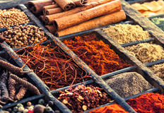 Selection of dried spices in a printers tray Royalty Free Stock Photos
