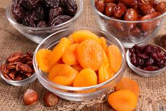 Selection of dry fruit. Composition Stock Photography