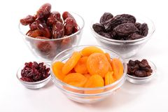 Selection of dry fruit. On white Royalty Free Stock Photography