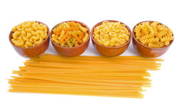 Selection of Dry Pasta. Isolated over white background Stock Photo