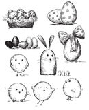 Selection of Easter drawings Royalty Free Stock Photos