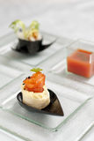 Selection of entrees with salmon creation Royalty Free Stock Images