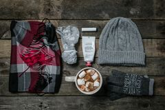Selection of essentials for cold winter weather Royalty Free Stock Image