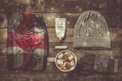 Selection of essentials for cold winter weather Stock Images
