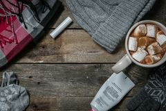 Selection of essentials for cold winter weather Stock Photography