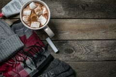 Selection of essentials for cold winter weather Royalty Free Stock Photos