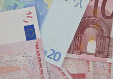 Selection of euro bank notes Royalty Free Stock Photo