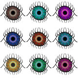 Selection of Eyes. Selection of abstract eyes in nine different colors isolated over white background Royalty Free Stock Image