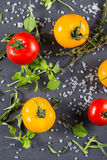 Selection of farm fresh tomatoes with herbs and sea salt from ab Royalty Free Stock Photography