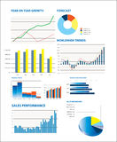 Selection of fictional graphs vector illustration
