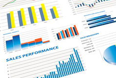 Selection of financial and economic graphs. Measuring business performance Royalty Free Stock Image