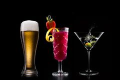 Cocktails alcohol bar selection trendy hotel bartender garnish. Selection of fine non alcoholic garnished cocktail drinks beverage bar club mixologist beer royalty free stock photos