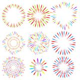 Selection of fireworks on white isolated background. Vector holiday elements for design. vector illustration