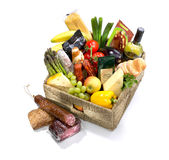 Selection of food in a basket Stock Photo