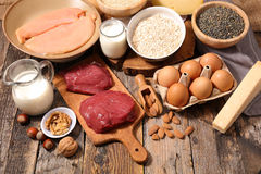 Food high in protein. Selection food high in protein stock photo