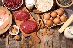 Selection food higt in protein Royalty Free Stock Image