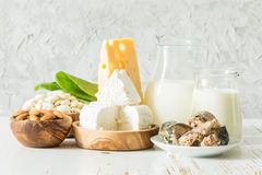 Selection of food that is rich in calcium. Copy space Royalty Free Stock Photography