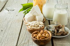 Selection of food that is rich in calcium Royalty Free Stock Photos