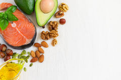 Selection Food sources of omega 3 and healthy fats. Top view wit Royalty Free Stock Photography