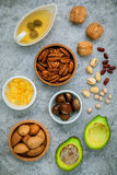 Selection food sources of omega 3 and unsaturated fats. super fo Royalty Free Stock Photography