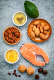 Selection food sources of omega 3 and unsaturated fats. Super fo Stock Photos