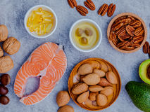 Selection food sources of omega 3 and unsaturated fats. Super fo Stock Image
