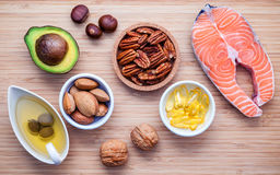 Selection food sources of omega 3 and unsaturated fats. Super fo Royalty Free Stock Photos