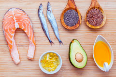 Selection food sources of omega 3 and unsaturated fats. Super fo Royalty Free Stock Image