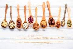 Selection food sources of omega 3 and unsaturated fats. Superfoo. D high vitamin e and dietary fiber for healthy food. Mixed nuts almond ,pecan,hazelnuts,walnuts Stock Image