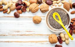 Selection food sources of omega 3 and unsaturated fats. Superfoo. D high vitamin e and dietary fiber for healthy food. Mixed nuts almond ,pecan,hazelnuts,walnuts Royalty Free Stock Photo