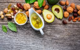 Selection food sources of omega 3 and unsaturated fats. Superfoo Stock Photos